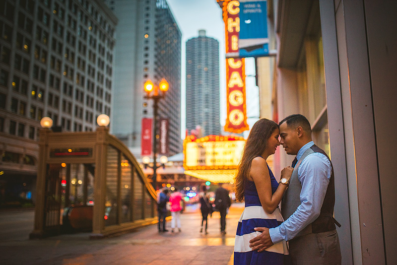 Chicago Theatre Engagement Photo