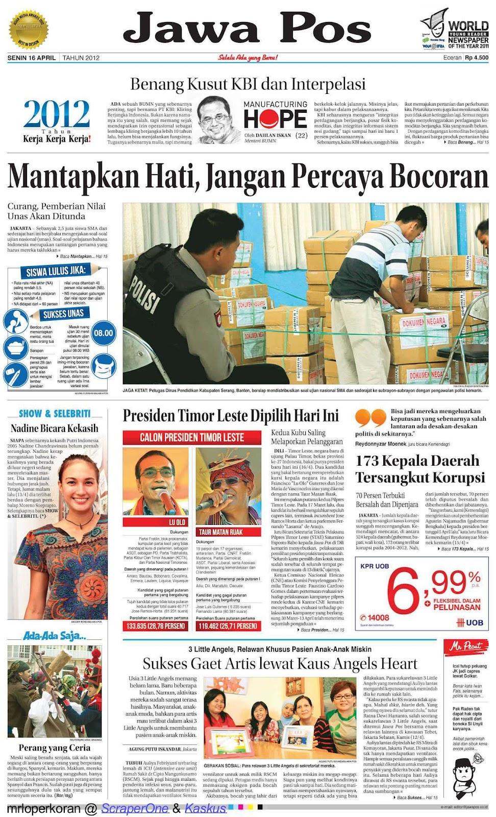 Koran Jawa Pos, Senin 16 April 2012 | REA-REO BLOG