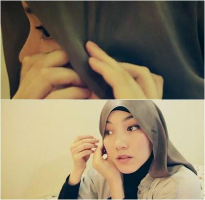 Tutorial Gaya Hijab Simple dengan Scarf Satin Segi Empat 2
