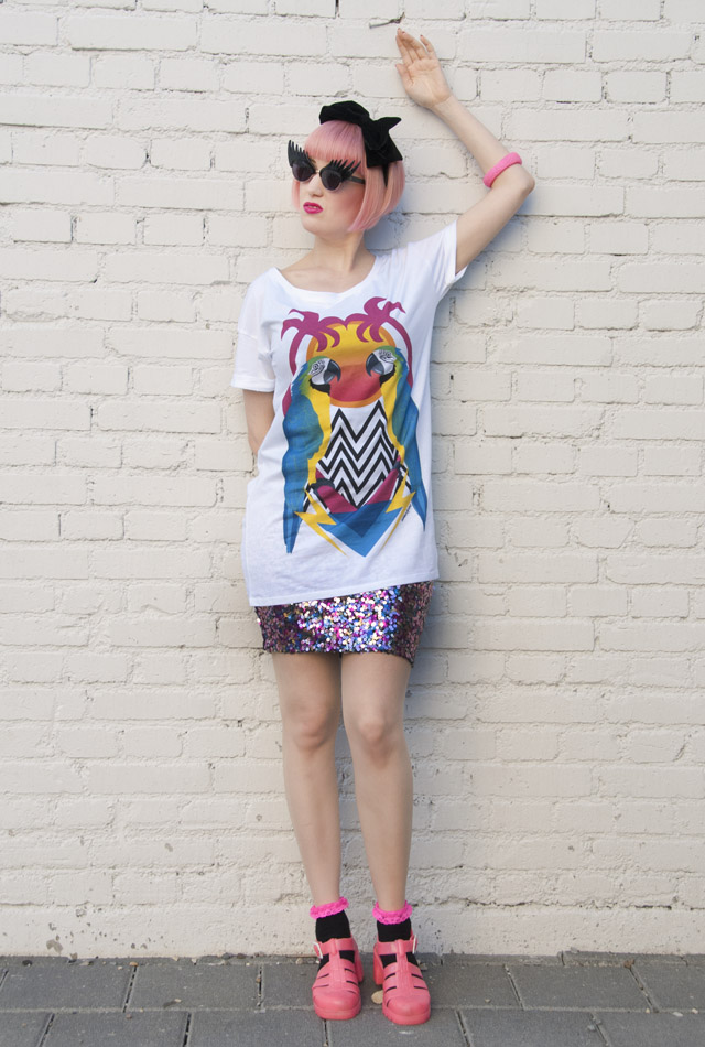 Tatty Devine, Tropical Print, Parrot tshirt, Juju Shoes, Dazzle and Jolt