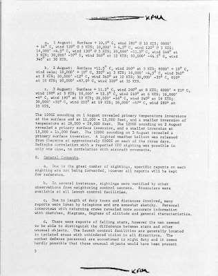 UFO Report at  Missile Sites, F E Warren AFB Wyoming (C) August 1965