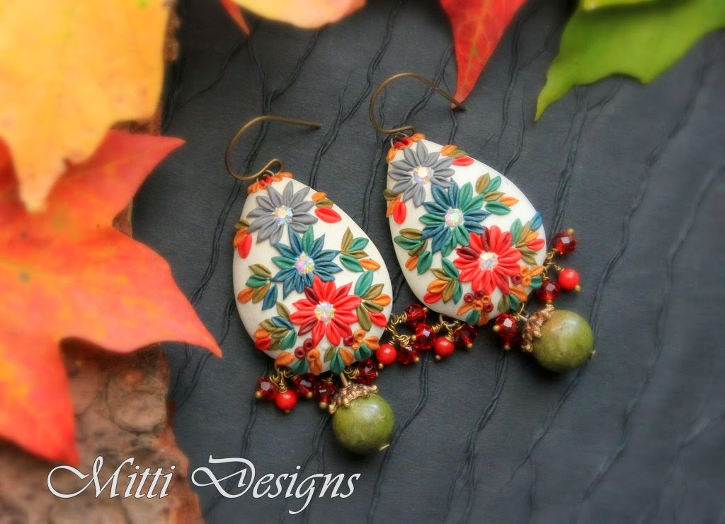 clay embroidery, fall, handmade, indian rug, mitti, rachana saurabh, art bead sense, autumn, gorgeous, stunning, designs, earrings, necklace, polymer clay, swarovski,