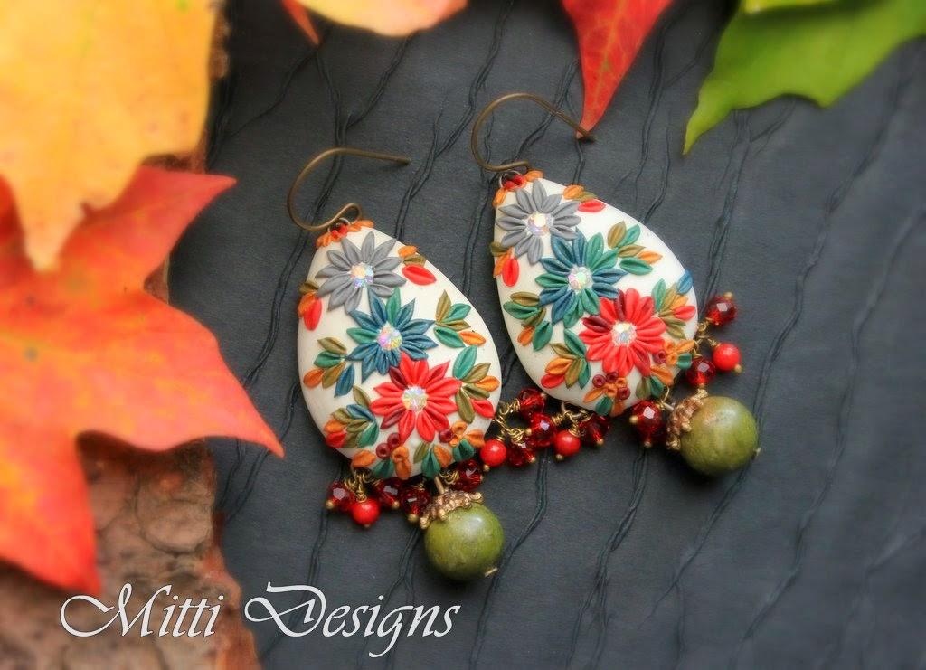 clay embroidery, fall, handmade, indian rug, mitti, rachana saurabh, art bead sense, autumn, gorgeous, stunning, designs, earrings, necklace, polymer clay, swarovski,