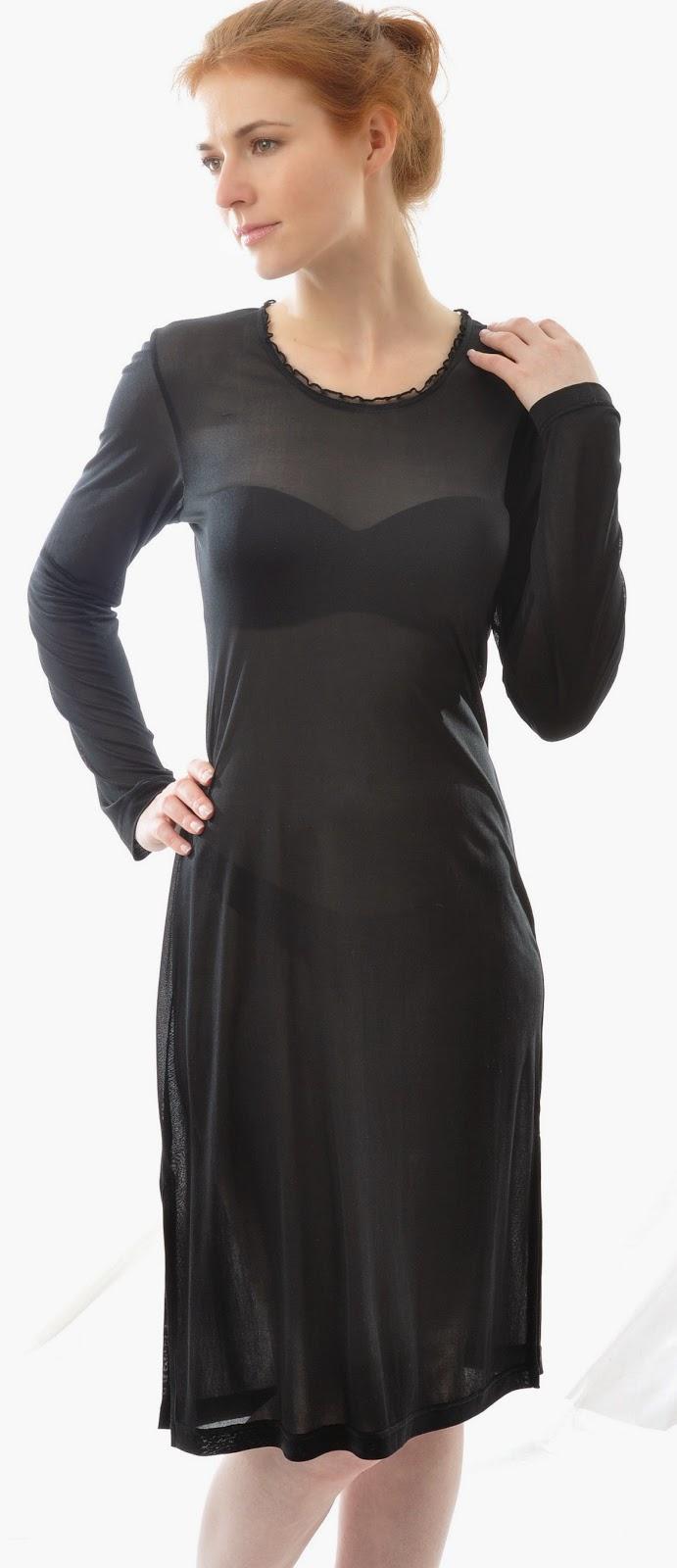 Alkena Bio-Seide Seidennachthemd schwarz