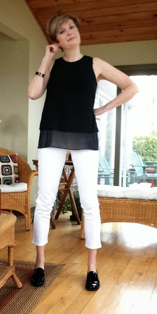 black Rag and Bone tank, white NYDJ white jeans, black Stuart Weitzman loafers
