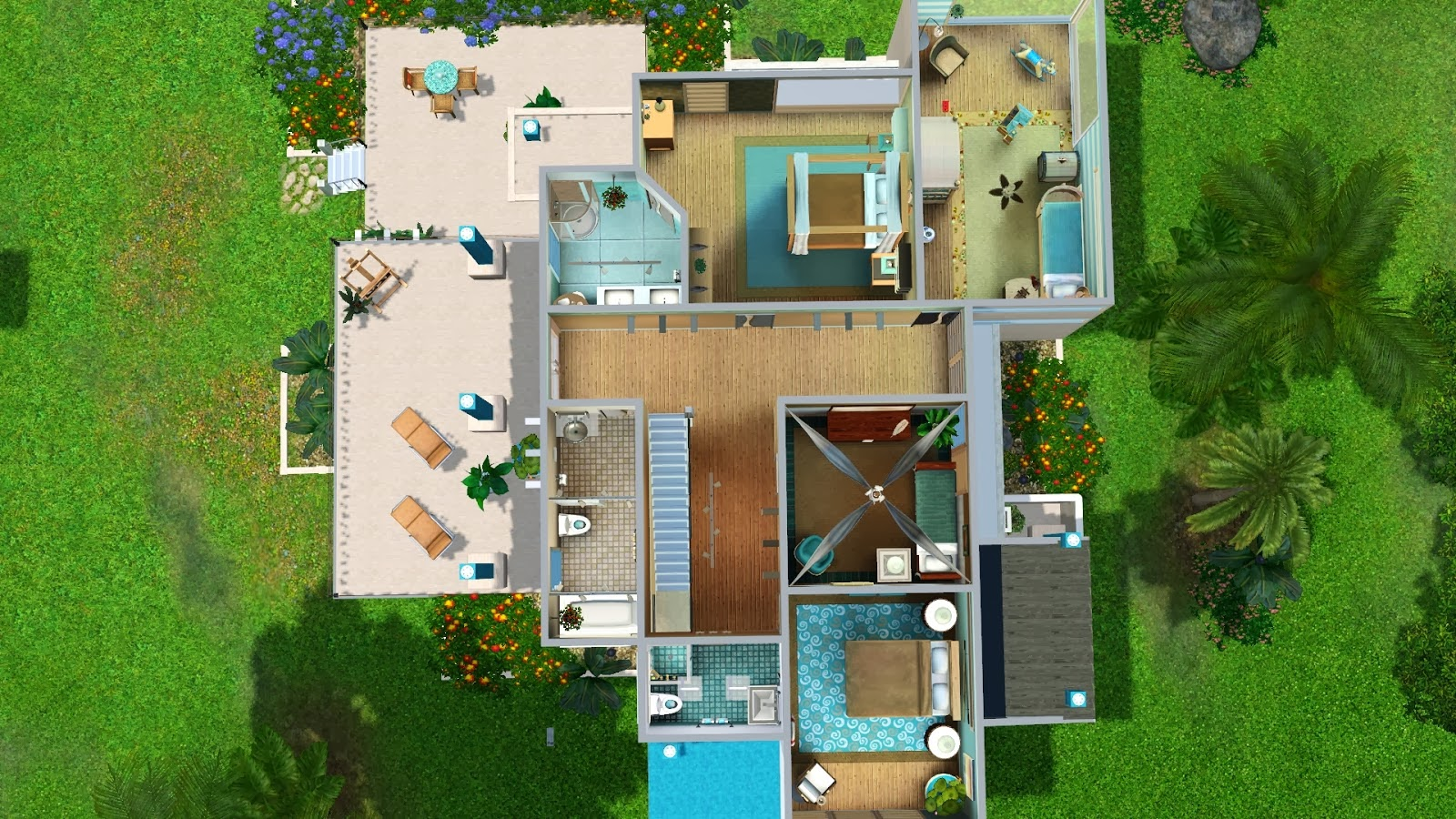 My sims 3 blog turquoise bay modern by ruth kay for Mansion floor plans sims 4