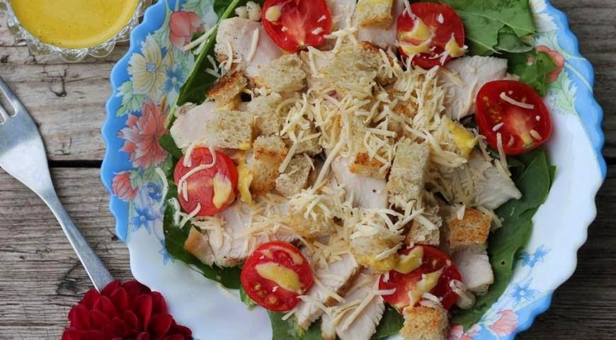 Цезарь салат с помидорами рецепт фото