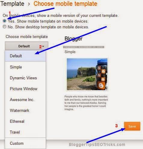 blogger mobile template option in blogger