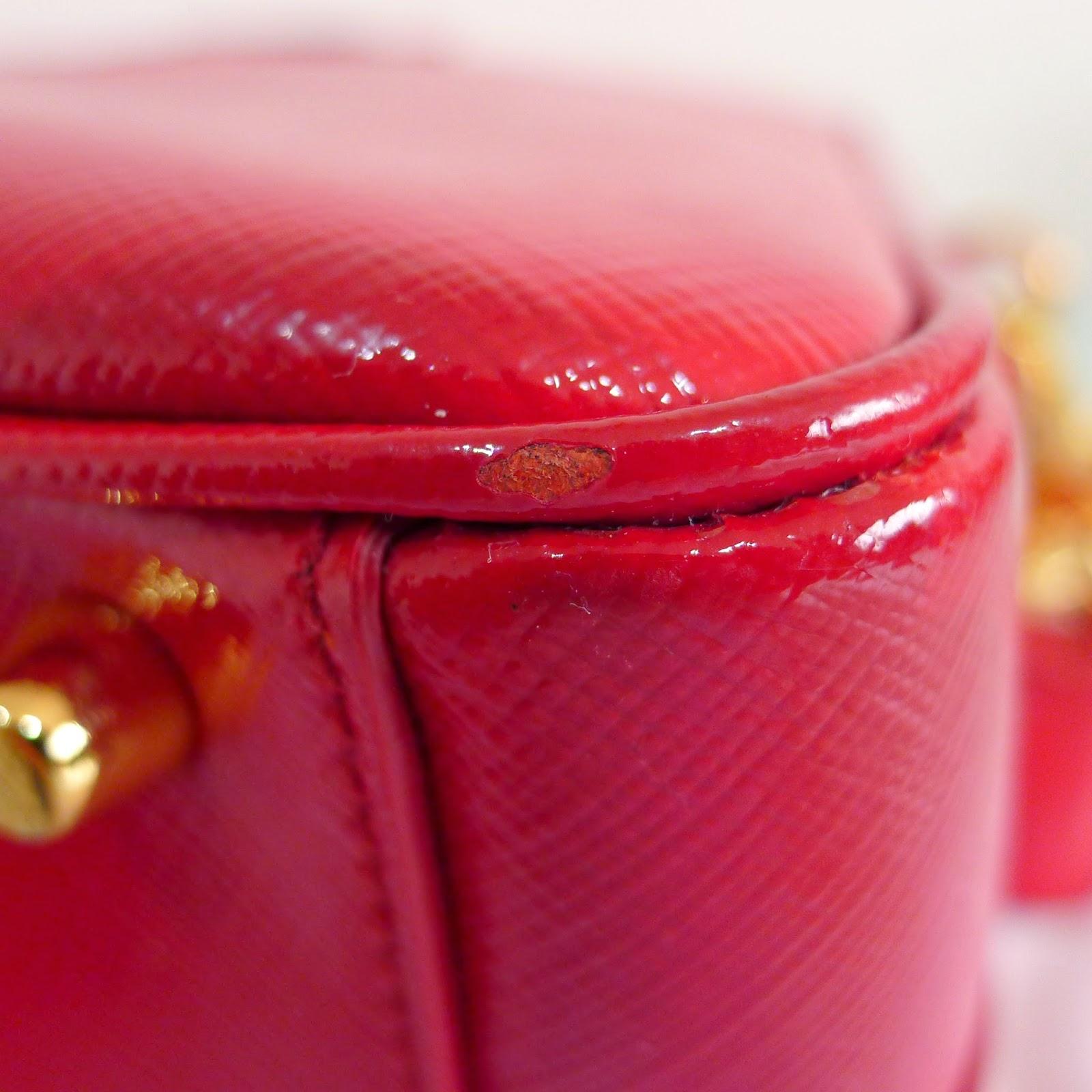 prada saffiano vernice flower pouch
