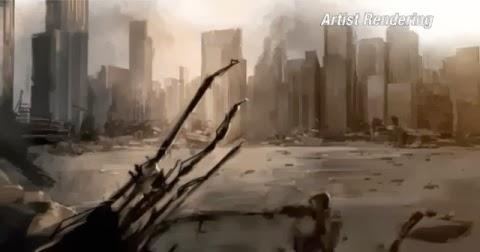 ARTE CONCEPTUAL DE LA DESTRUCCIÓN DE METRÓPOLIS