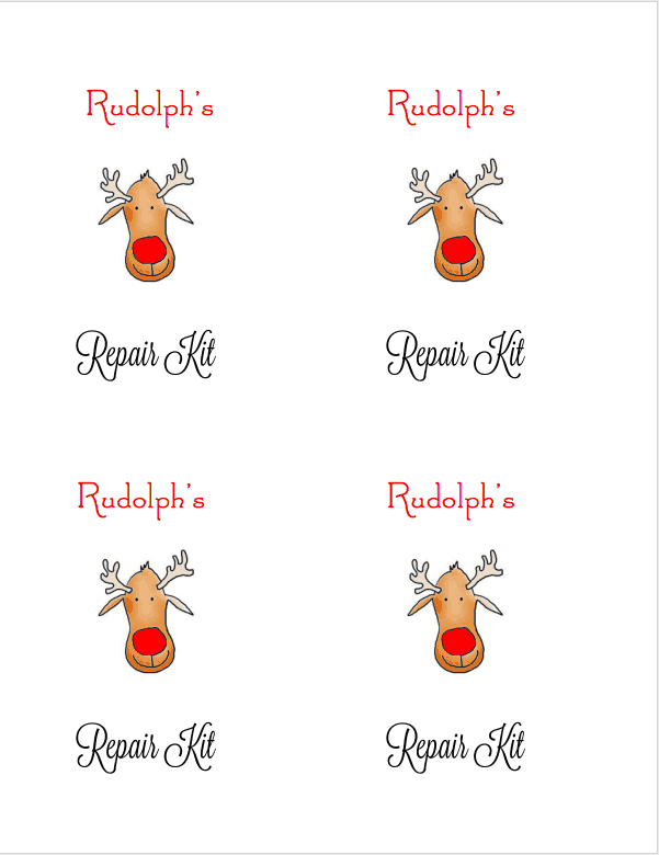photograph about Pin the Nose on Rudolph Printable referred to as Rudolphs Restore Package Free of charge Printable Want/Reward Tag - I Dig
