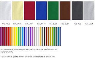 Цвет стандартных панелей секционных гаражных ворот