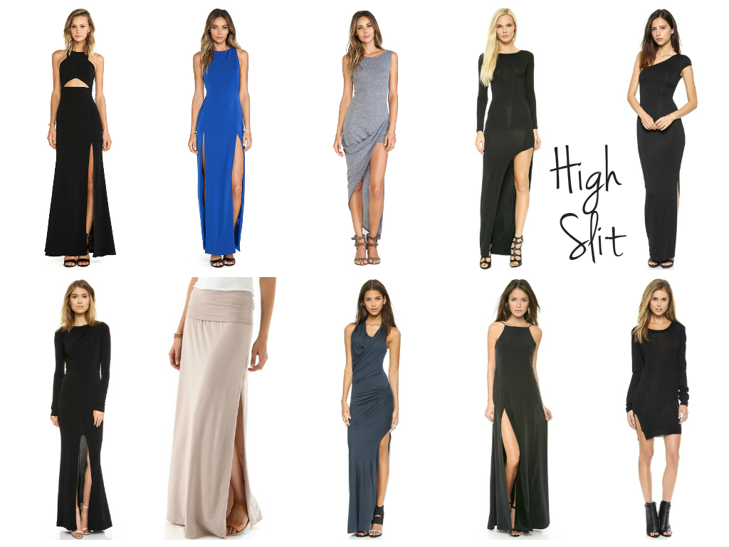 trend alert: maxi dress with high slit
