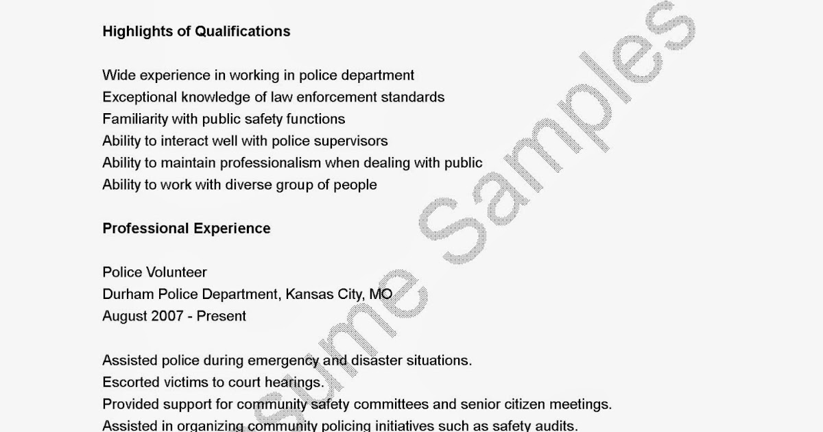 Police chief resume examples