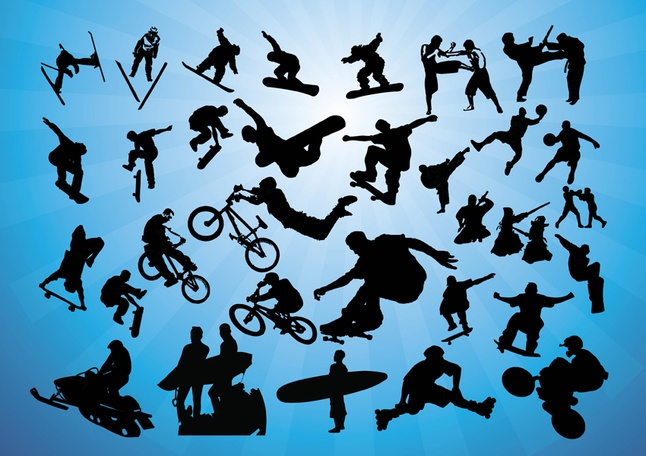 200+ Free Action Sports Silhouettes Vector Icons