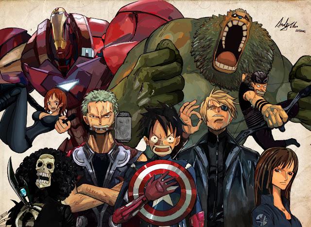 Genial Crossover de One Piece y Avengers