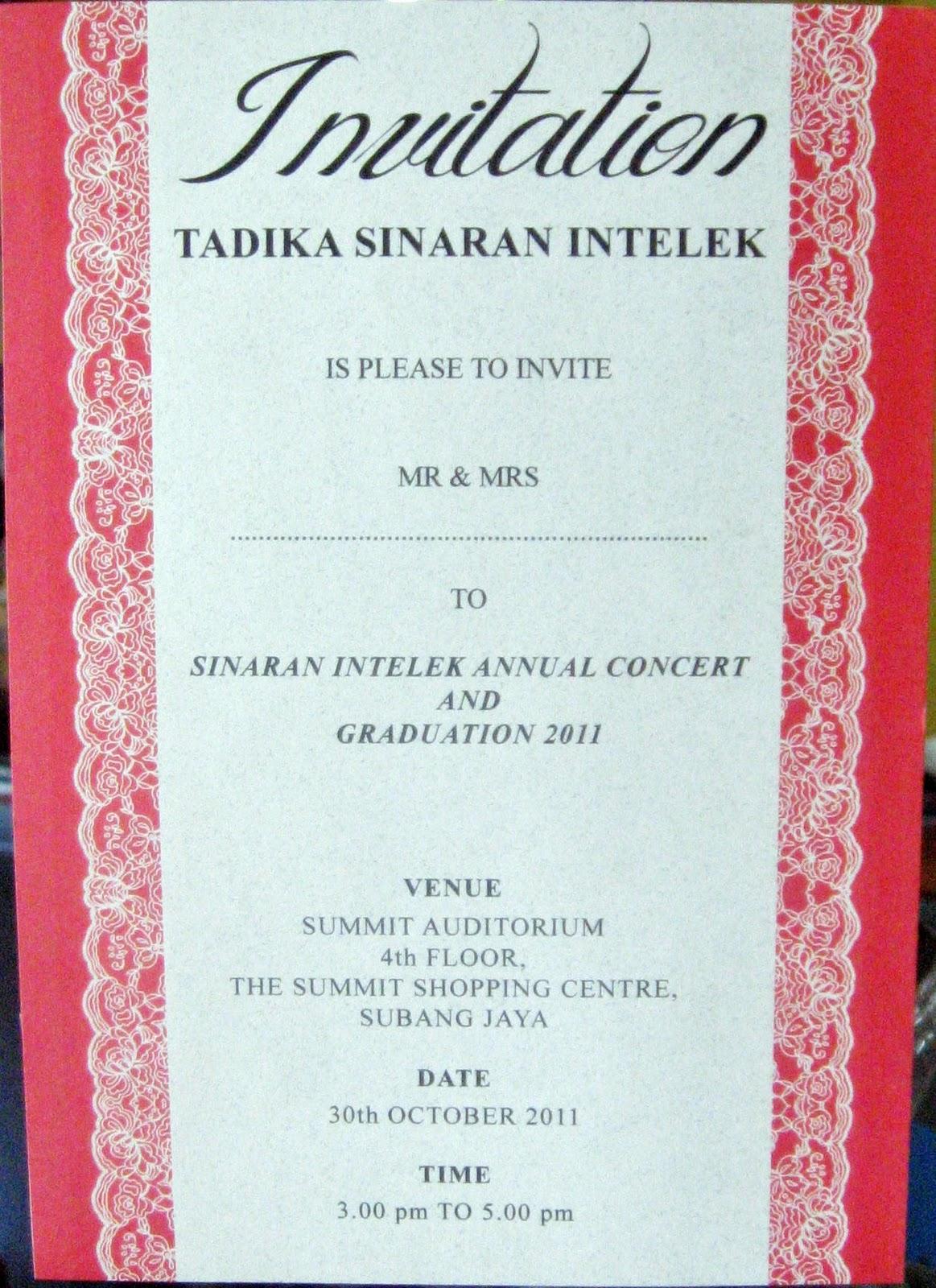 Tadika sinaran intelek concert invitation concert invitation stopboris Gallery