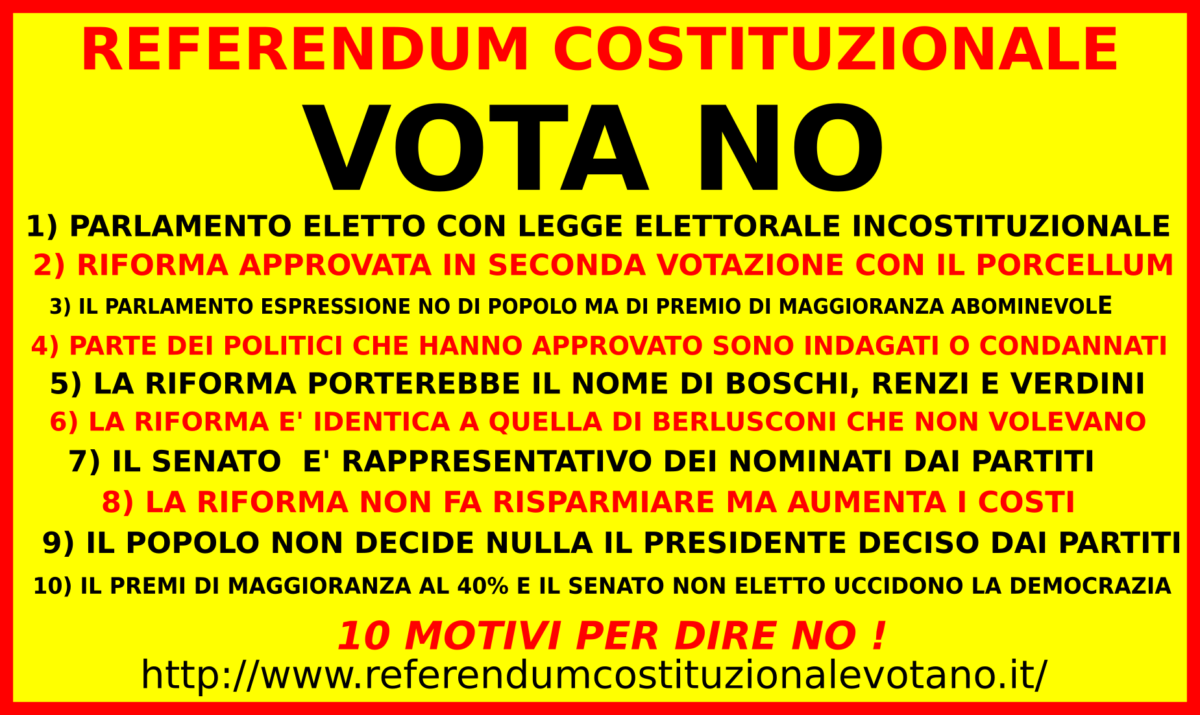 REFERENDUM COSTITUZIONALE VOTA NO ! LA RETE ED IL SITO MIO
