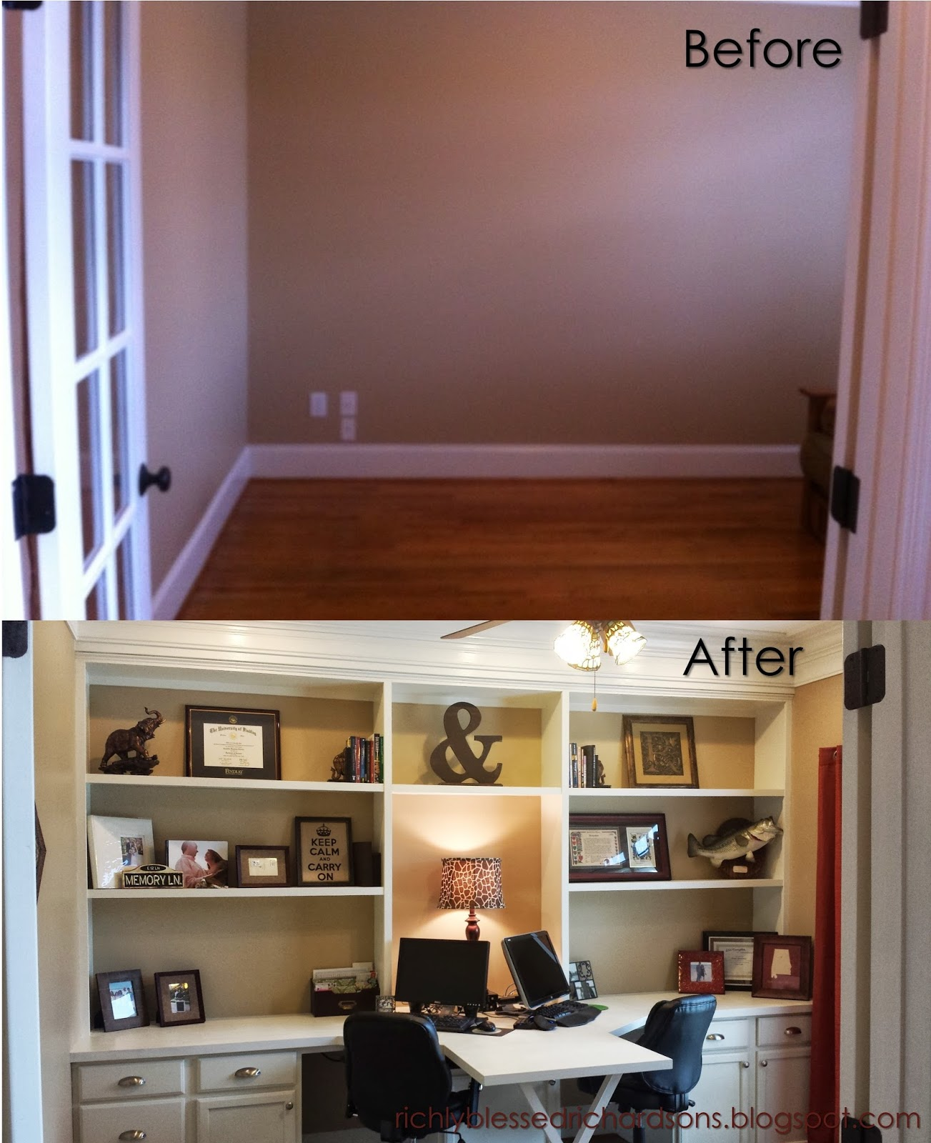 Richly blessed our home office before and after for Home office in kitchen ideas