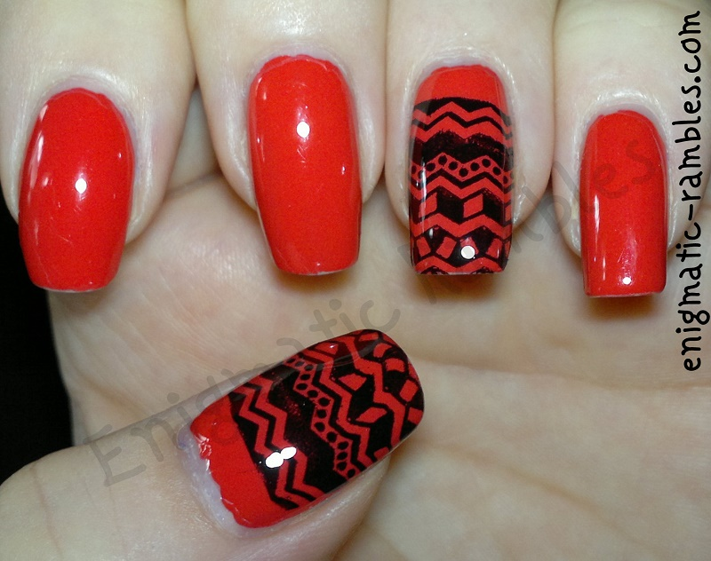 tribal-stamped-stamping-nails-nail-art-barry-m-passion-fruit-bundle-monster-402-bm402-moyounails-special-polish