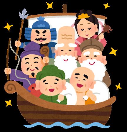 七福神と宝船のイラスト