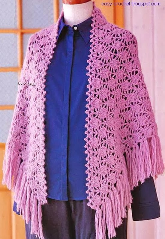 Crochet A Shawl Easy Pattern : Stylish Easy Crochet: Crochet Pattern Of Shawl - Beautiful ...