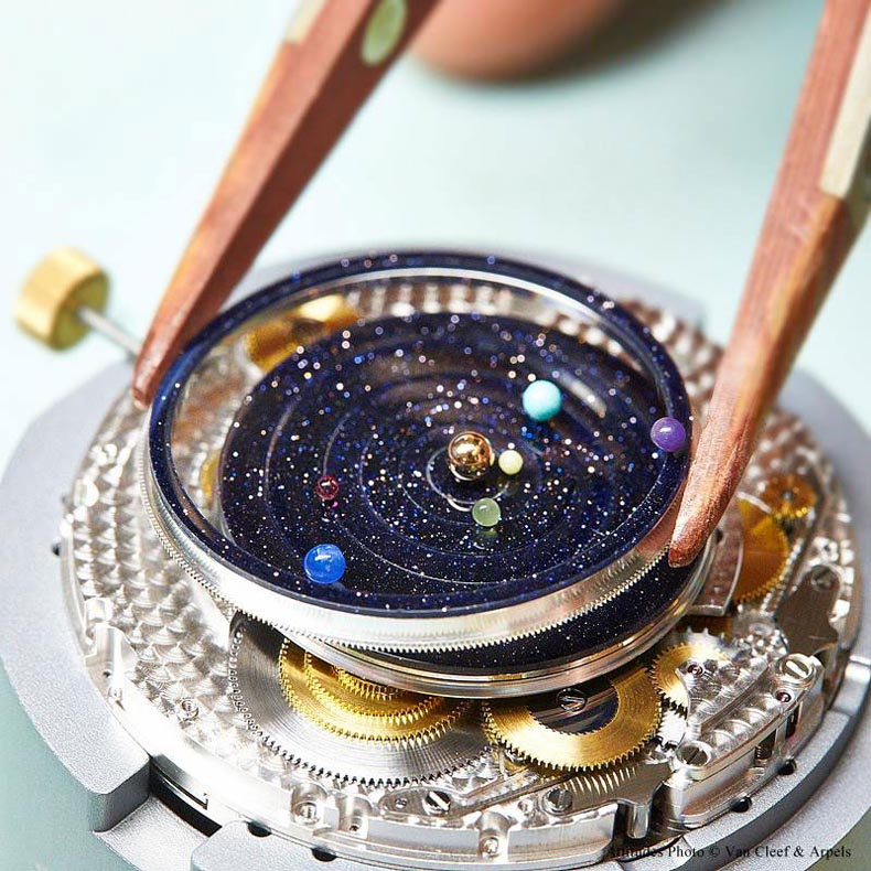 reloj astronómico sistema solar orbitando alrededor del Sol Midnight Planétarium