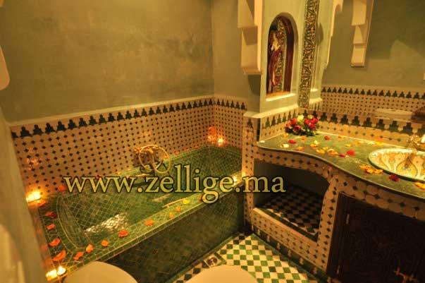 riad hammam et chamber en zellige marocain artisanal - Salle De Bain Marocaine Traditionnelle