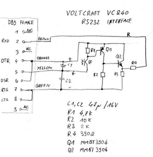 electronics engineering notes voltcraft vc840 rs232 interface circuit. Black Bedroom Furniture Sets. Home Design Ideas