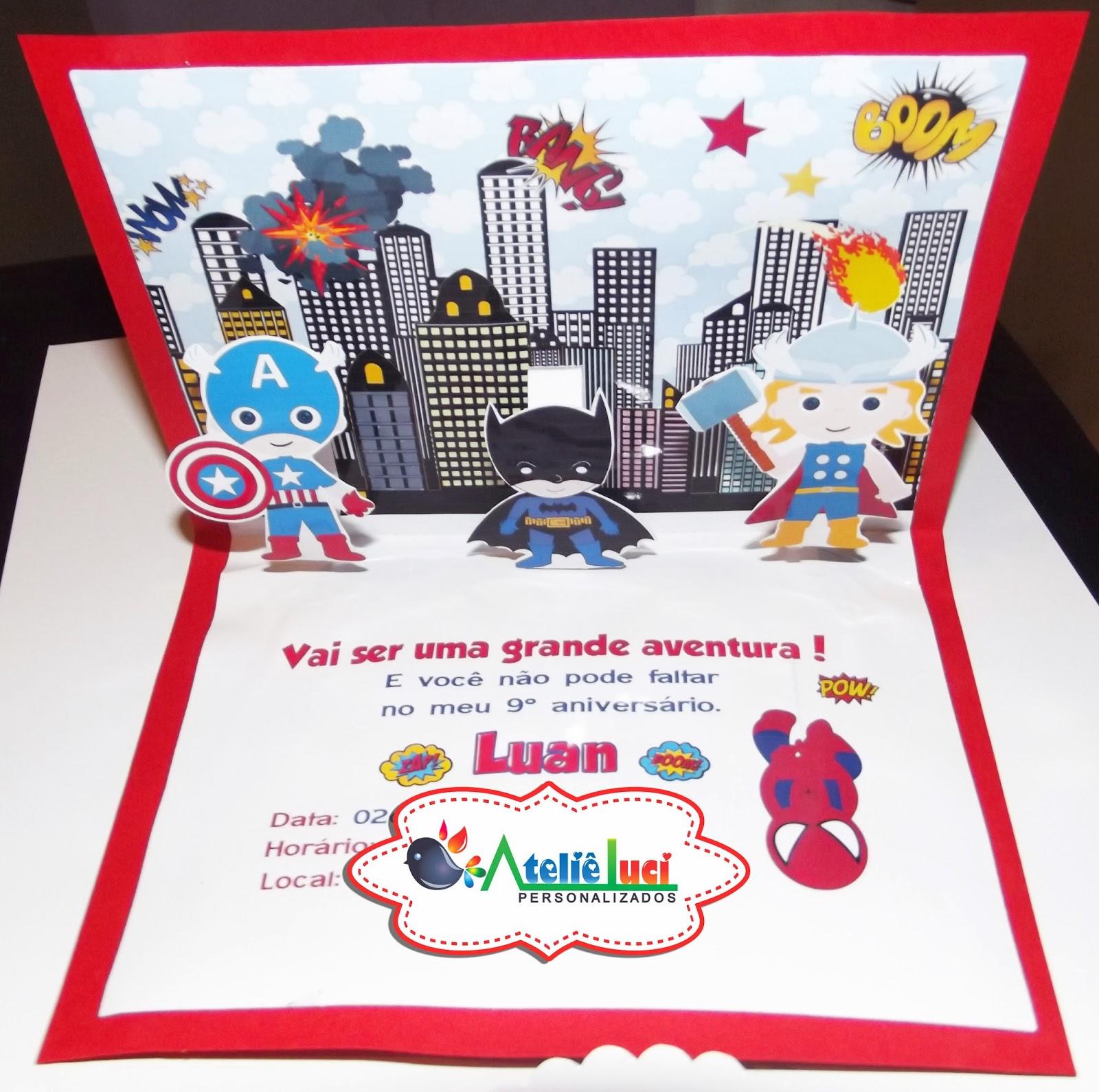 Arts E Vetores Convite Pop Up 3d Os Vingadores Baby