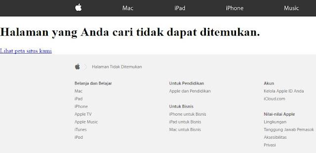 Pesan Dalam Halaman Apple Yang Tidak Ditemukan