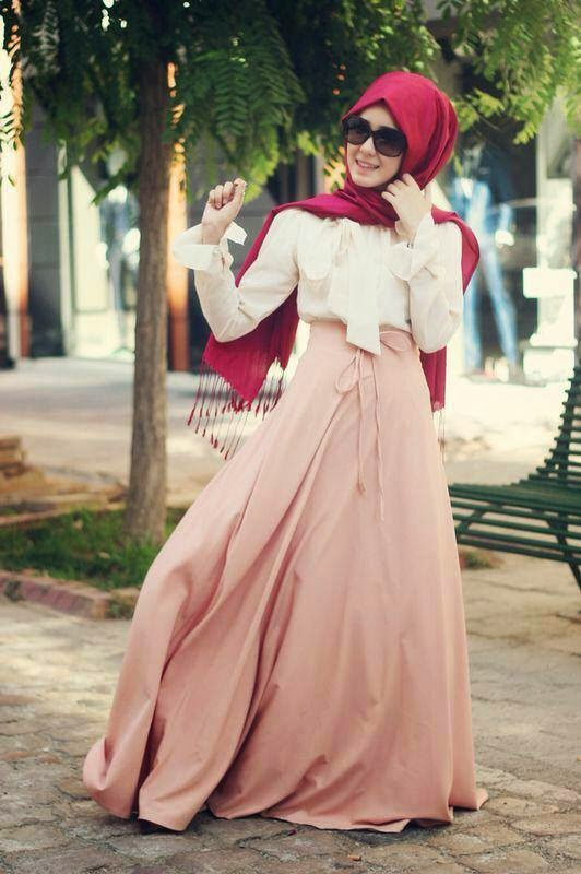 robe-hijab-rose-foulard-rouge