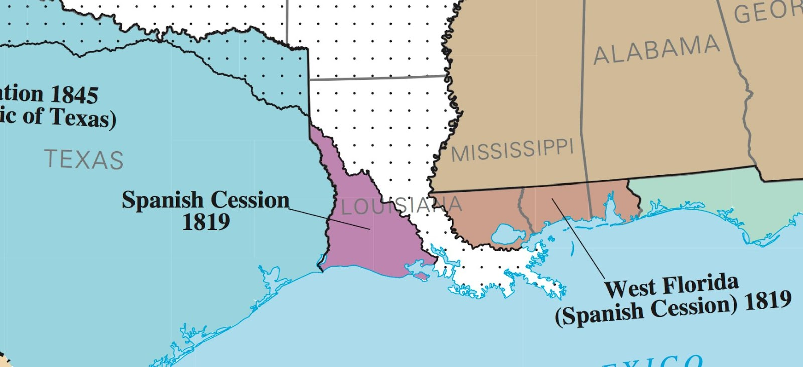 clearly one would ponder why the purchase s south western border ran so far easterly into the state interior near the gulf of mexico here s another