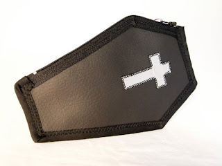 Coffin Clutch, Black with Silver Cross, Lined with Body Bag, Handmade by Pagan Reid of Villainous Vixen