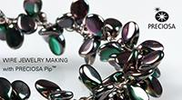 Браслет из проволоки и бусин Пип Wired bracelet with Pip beads