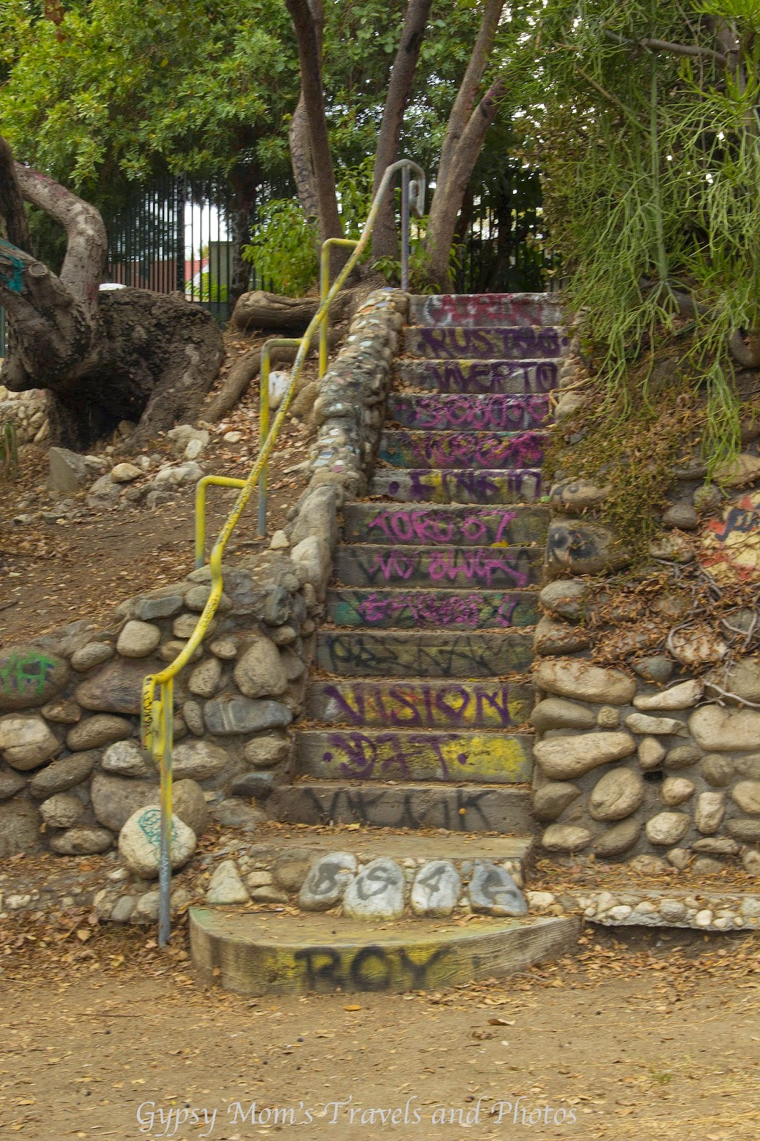 Staircase with graffiti in La Tierra de la Culebra Park