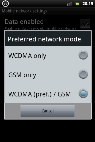 Xperia Mini Pro Network Mode