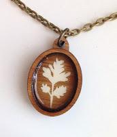 handmade geranium leaf silhouette necklace