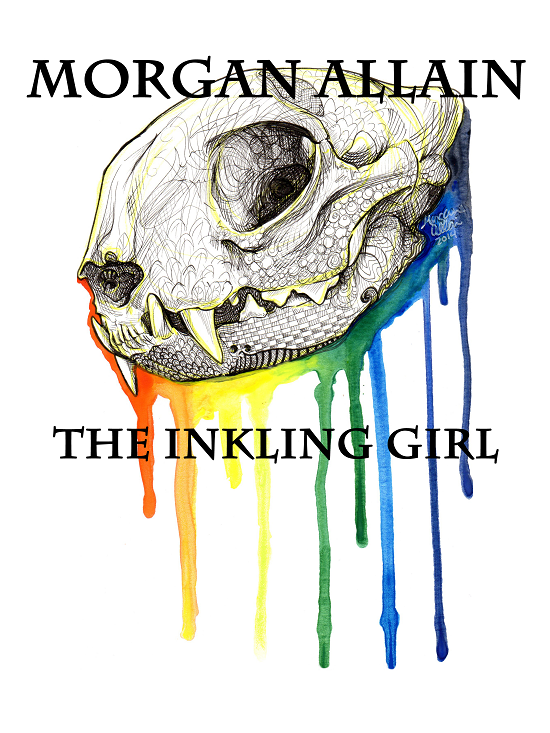 Morgan Allain original art cat skull illustration with rainbow colors streaking downwards