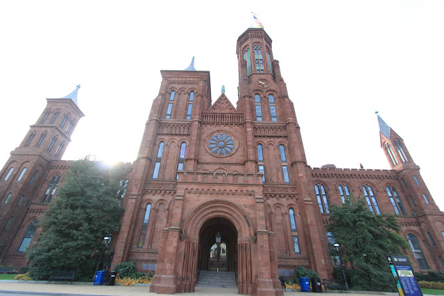 A closeup view of Smithsonian Castle located on the National Mall in Washington DC, USA