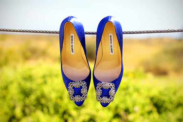 Manolo Blahnik Blue Hangisi Satin Pump