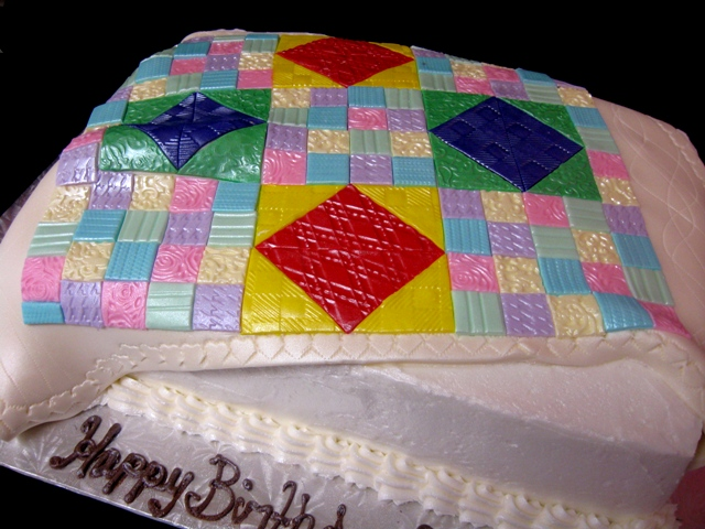 Cake Decorating Quilt Design : Cakes From The Country: Quilted Country Birthday Cake