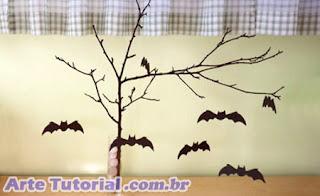 Exemplo de decoração halloween com morcegos