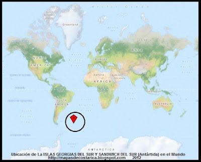 Ubicacion de La ISLAS GEORGIAS DEL SUR Y SANDWICH DEL SUR , Antartida en el Mundo, OpenStreetMap, 2012