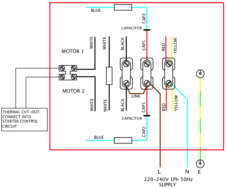 Single Phase Ac Motor Wiring Diagram : V single phase motor wiring diagram elec eng world