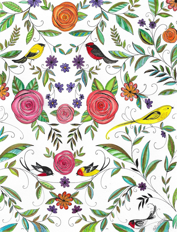 Adapted From Eleri Fowlers Charming Coloring Book Joyous Blooms To Color