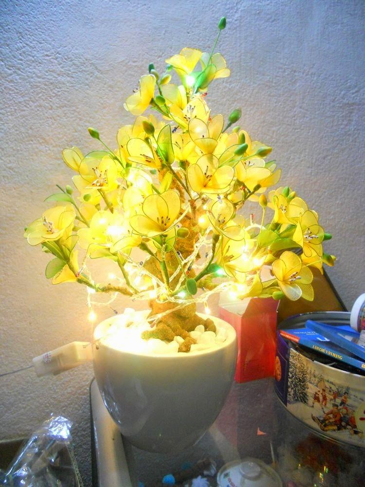 Cách làm cây hoa Mai bằng vải voan