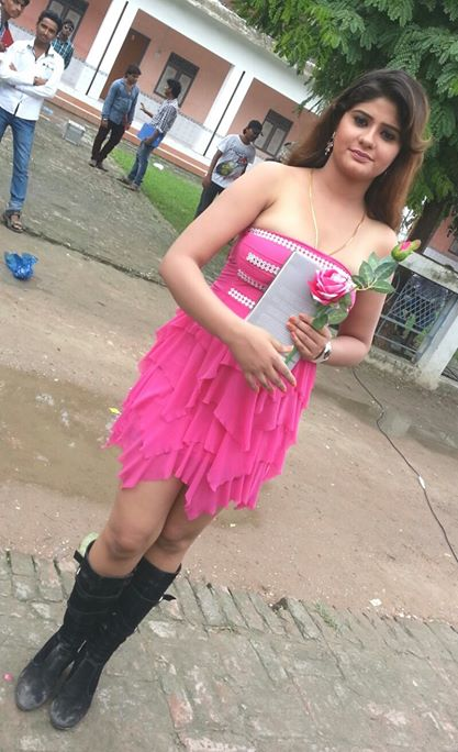 Bhojpuri Actress Neha Shree Very Hot & Sexy Style Picture in pink Dress