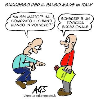 Made in Italy, sofisticazioni alimentari, imitazioni, satira, vignetta