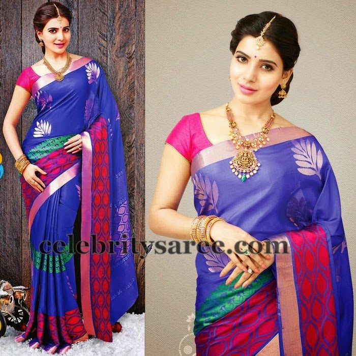 Samantha in Purple Uppada Saree